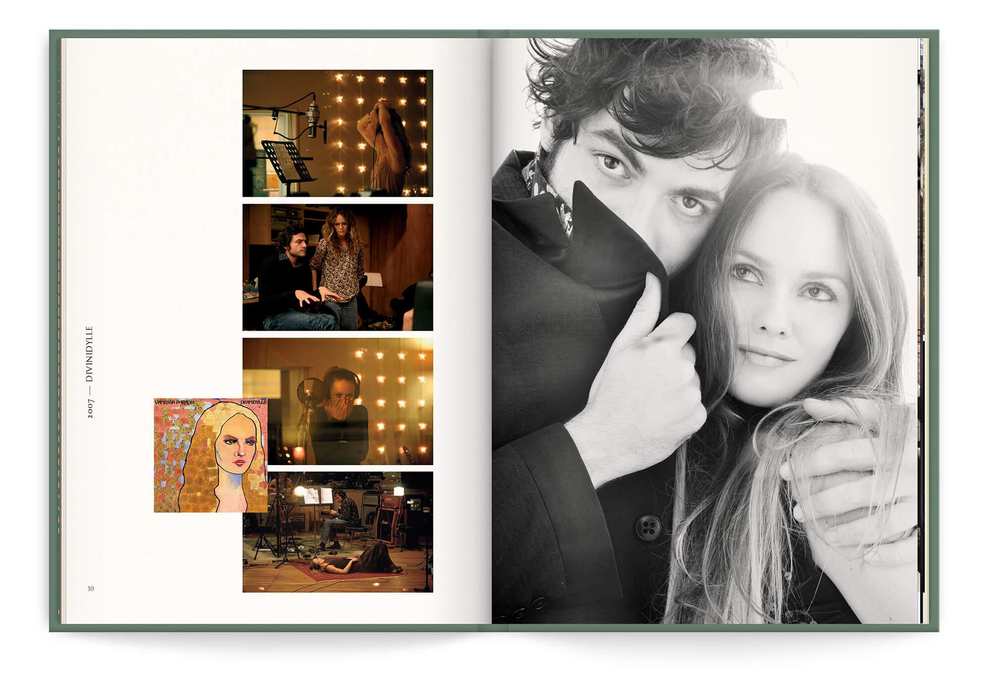 Double page du livre disque du best of 2019 de Vanessa Paradis, photos avec Matthieu Chedid -M-, mise en page Helena Ichbiah, IchetKar