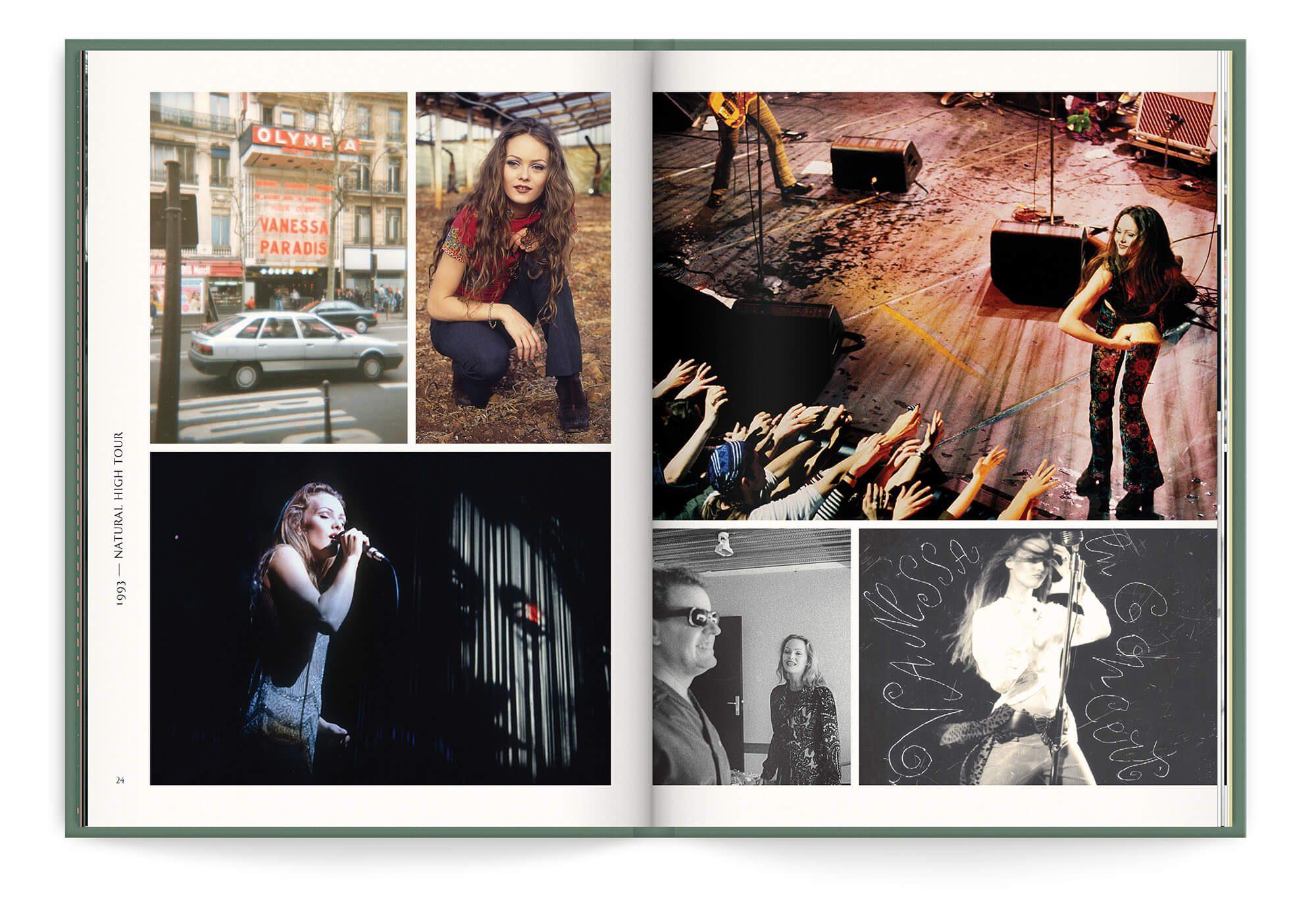Double page de photos inédites pour le best of de Vanessa Paradis, Natural High Tour en 1993, design et mise en page IchetKar