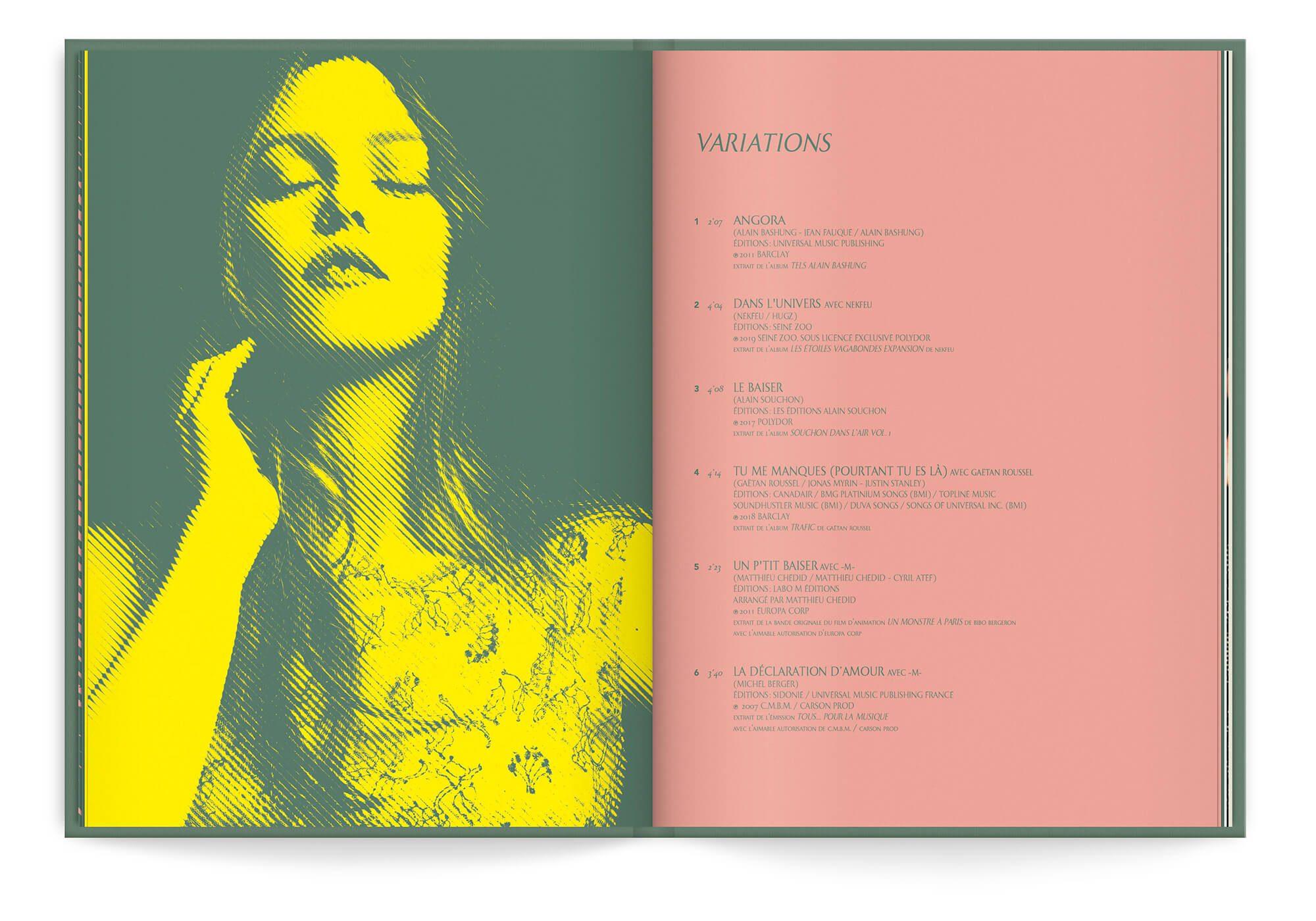 Portrait de Vanessa Paradis en trame bitmap jaune et vert. Graphisme signé IchetKar
