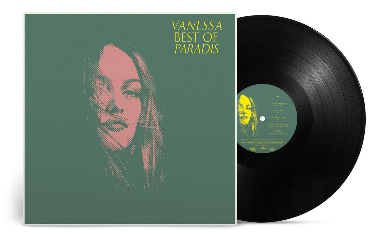 La couverture du double vinyle best of Vanessa Paradis, portrait tramé, design IchetKar