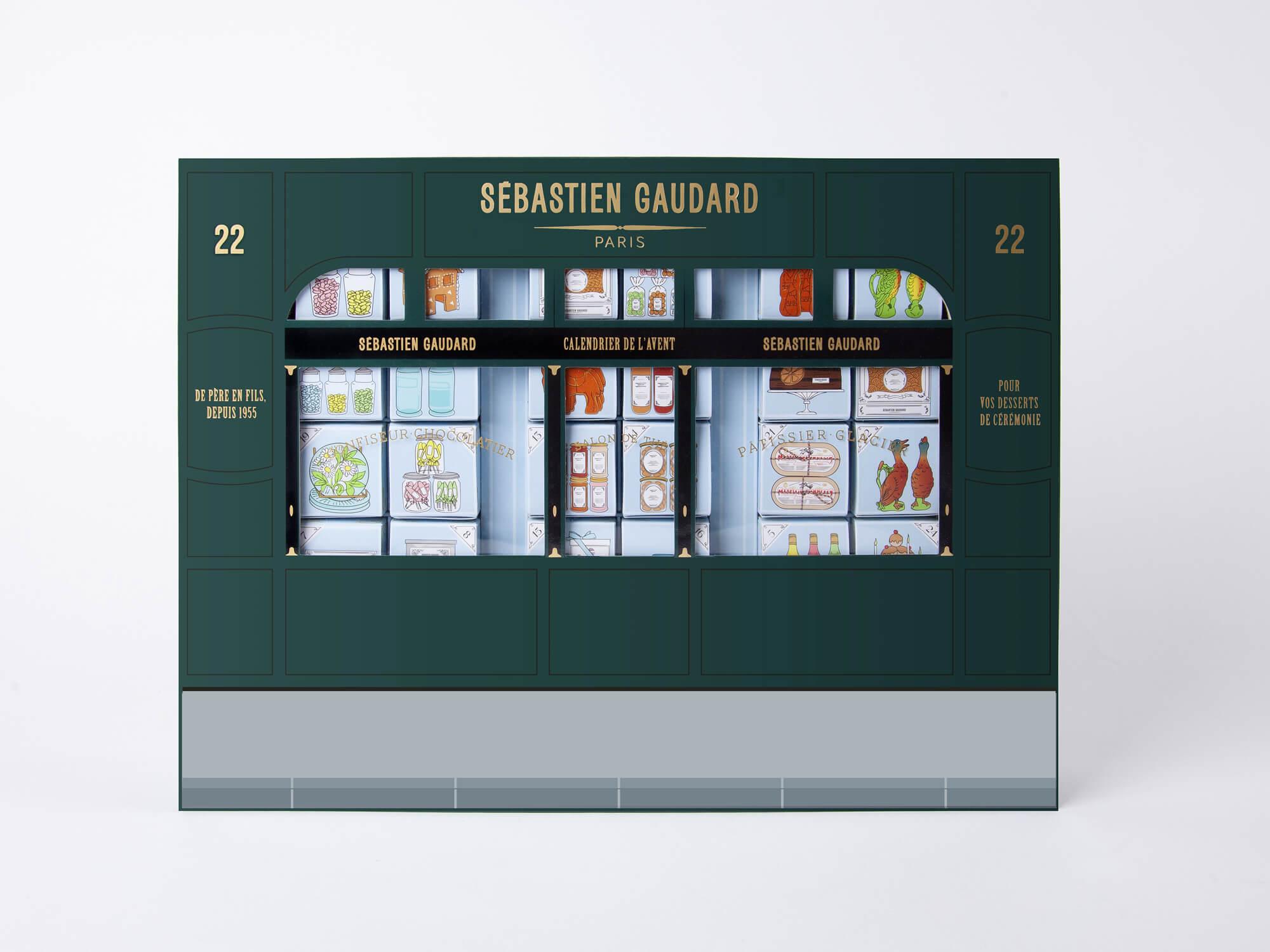 Le calendrier de l'avent graphique de Sébastien Gaudard, reprend la façade emblématique de la pâtisserie des martyrs, un calendrier de l'avent d'exception à offrir. par le studio ich&Kar