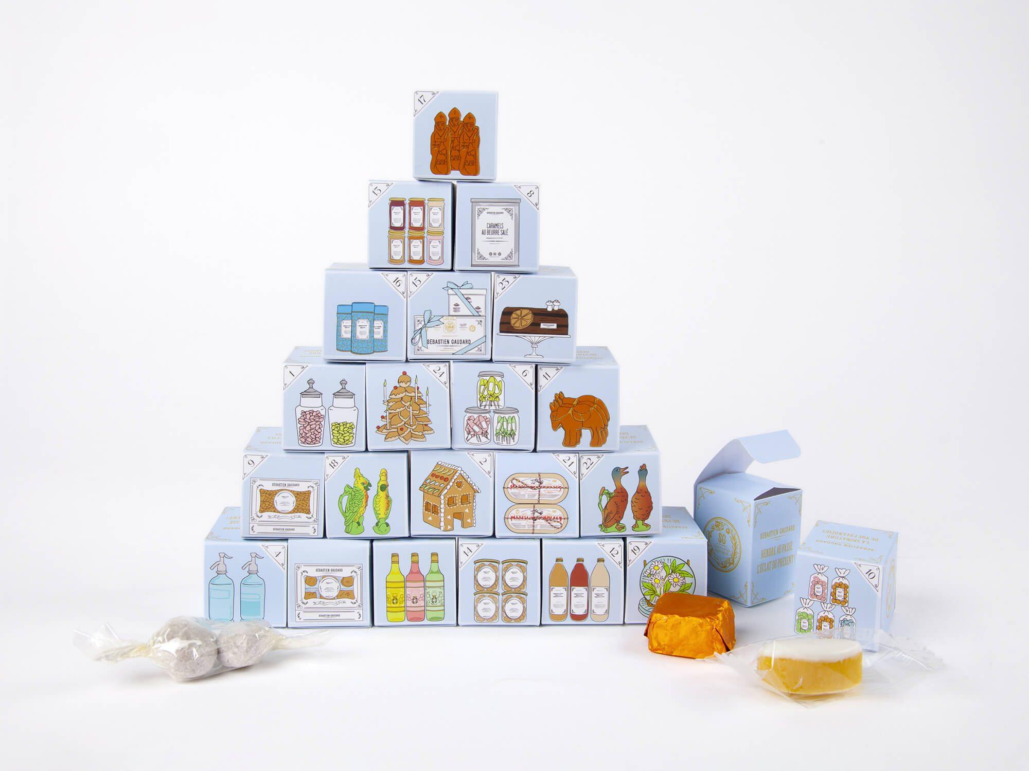 les 24 boîtes du calendrier de l'avent de Sébastien gaudard, sont illustrés des produits phares de la patisserie, confiture, pain d'épices, thé, biscuits…
