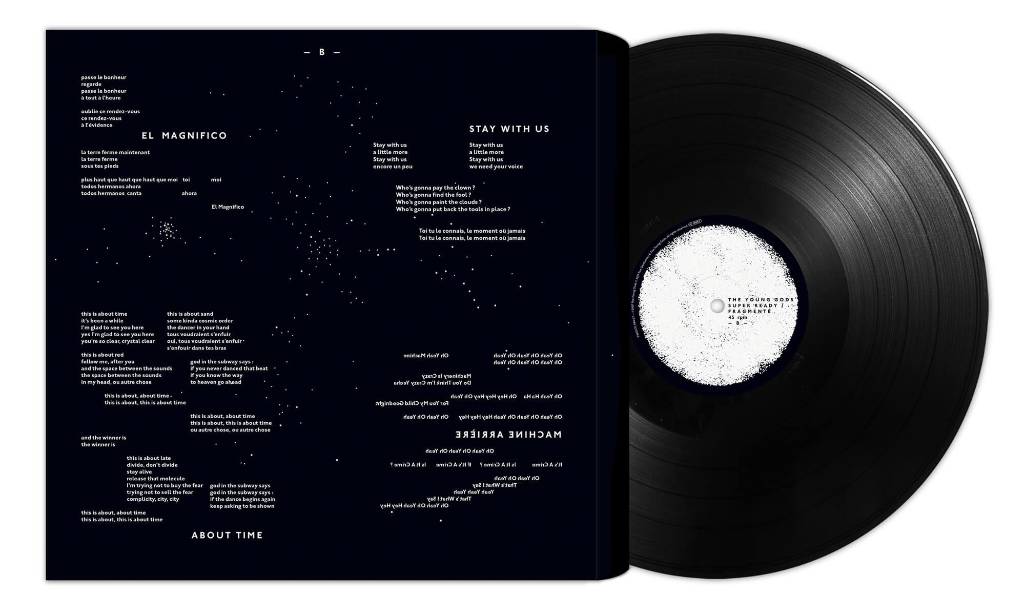 détail graphique en noir et blanc du vinyle Super Ready/Fragmenté du groupe de musique The young gods signé par les graphistes Ich&Kar