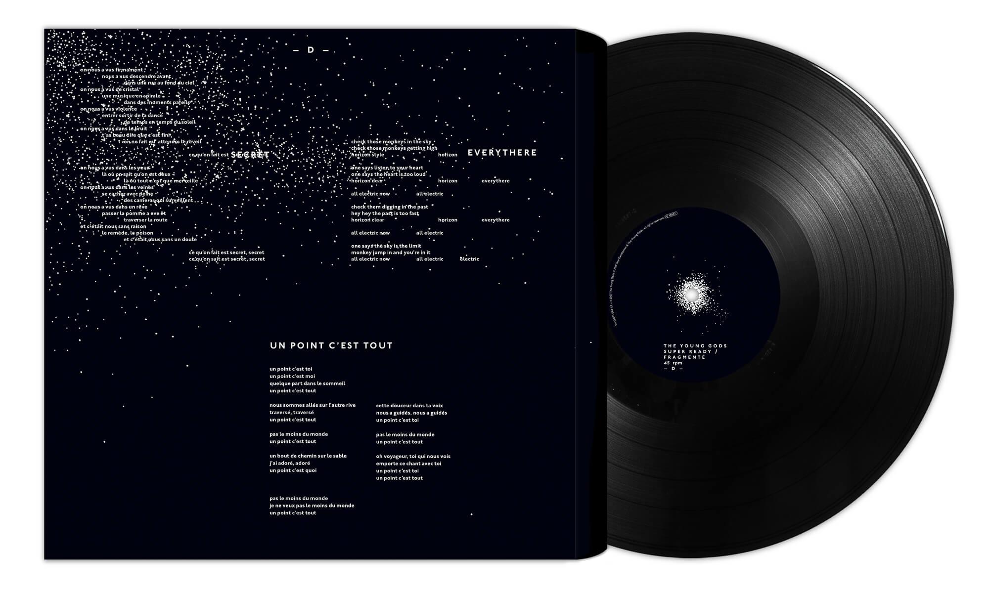 face D du double vinyle Super Ready/Fragmenté, 9ème album du trio The Young Gods, sorti la première fois en 2007 et réedité en 2019 dans une version collector dessinée par le studio Ich&Kar