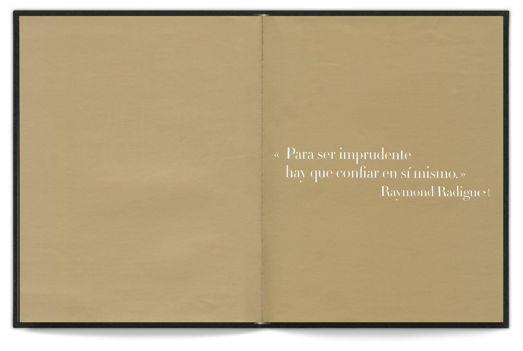 Une citation de Raymond Radiguet dans le livre d'Emmanuel Pucault, fondateur de Chic by accident, design editorial IchetKar