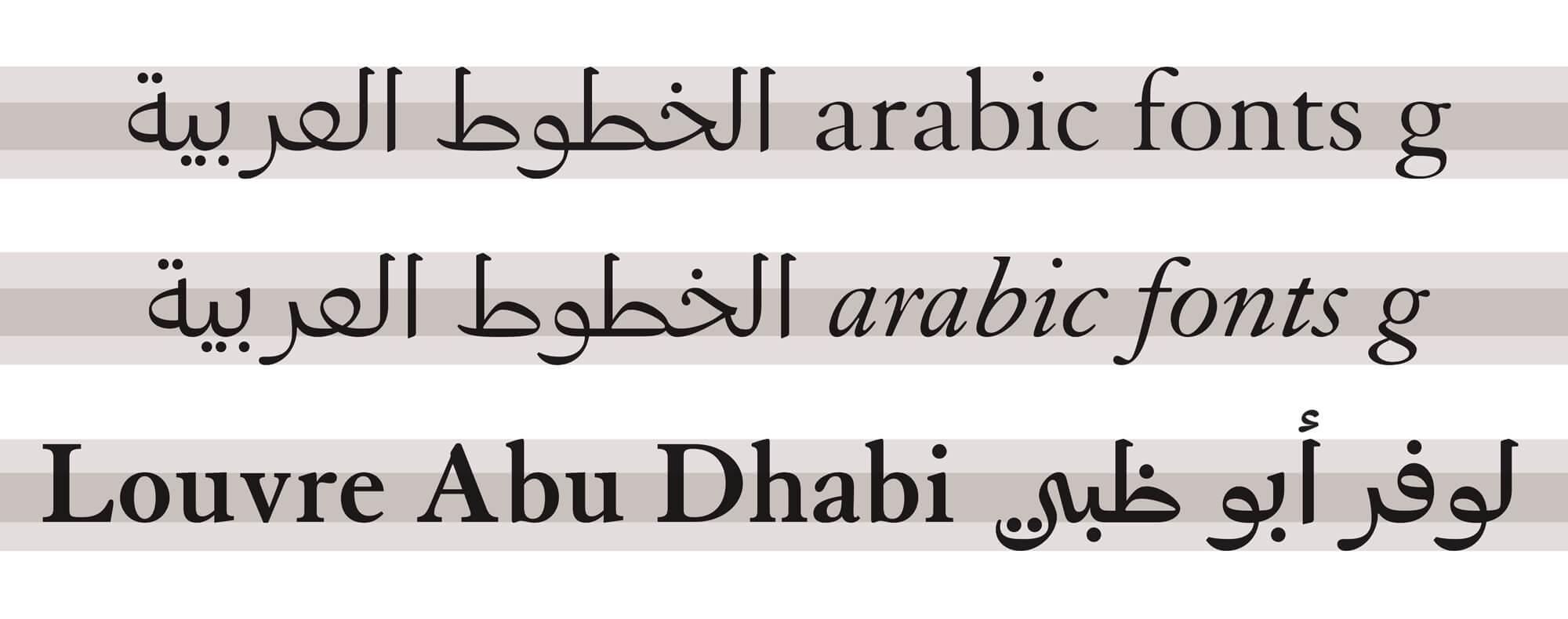 application du louvre arabic, une typographie dessinée par Laurent Bourcelier pour le Louvre Abu Dhabi dans une identité réalisé par Ichetkar.