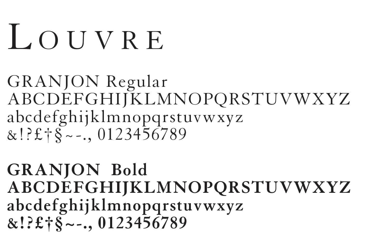 Typographie Granjon utilisé pour le Louvre Abu Dhabi dans une identité pensée par ichetkar.