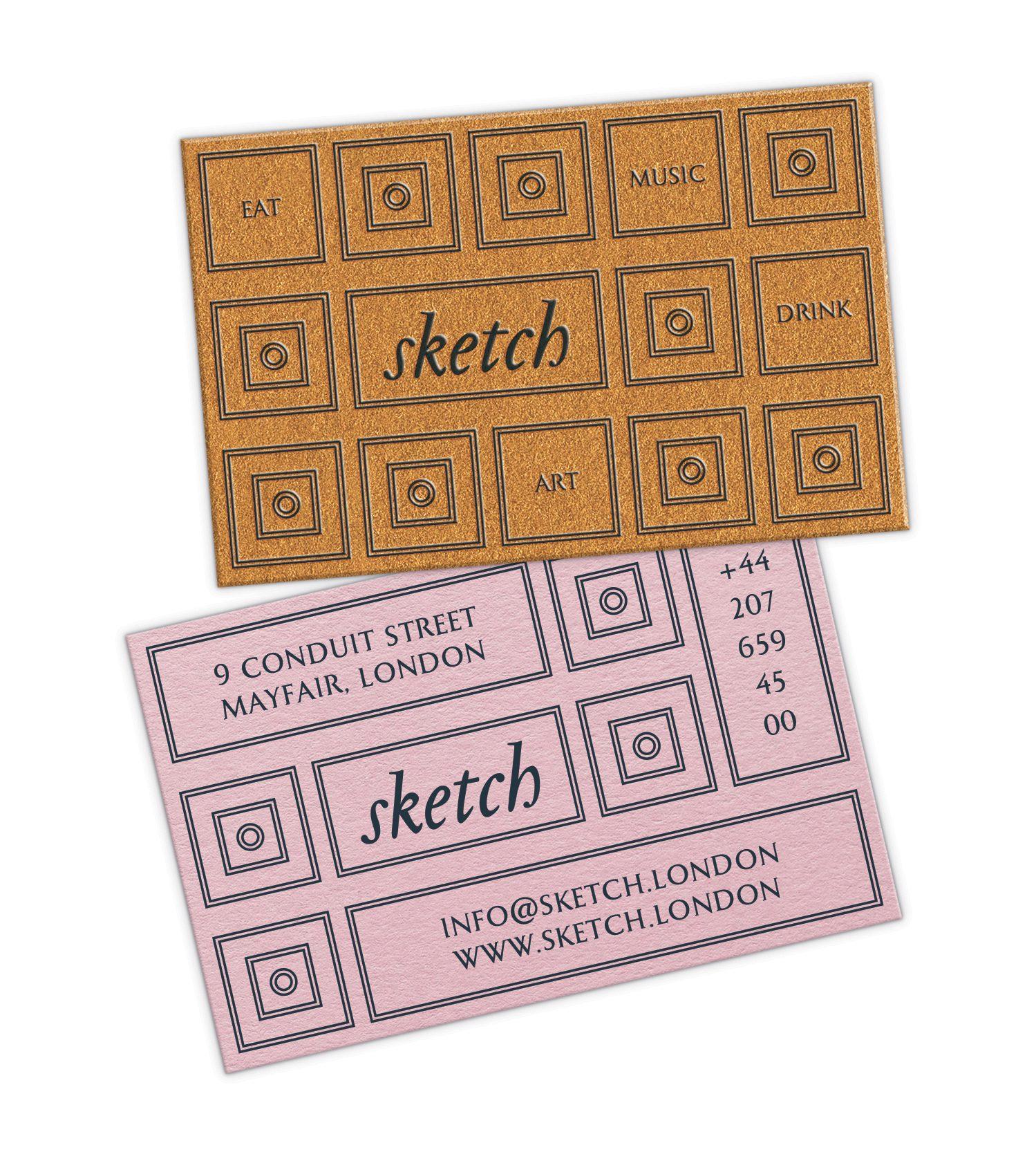 La carte de visite du restaurant le Sketch à Londres, papier rose et cuivre, impression raised pour le volume sur le motif, design IchetKar
