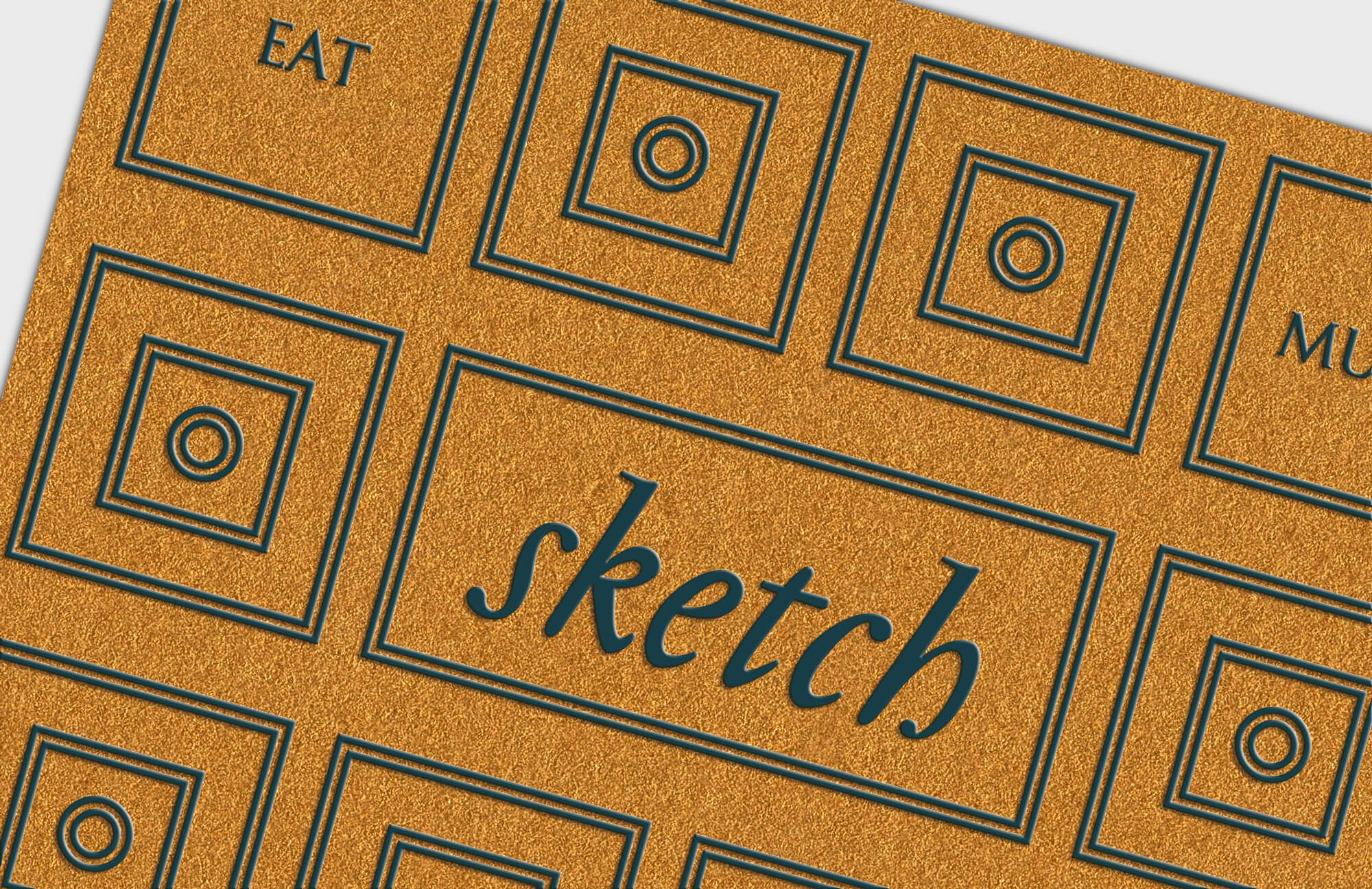 La carte de visite du restaurant Sketch à Londres, belle fabrication, papier GF smith Gold et impression pantone raised, design ichetkar