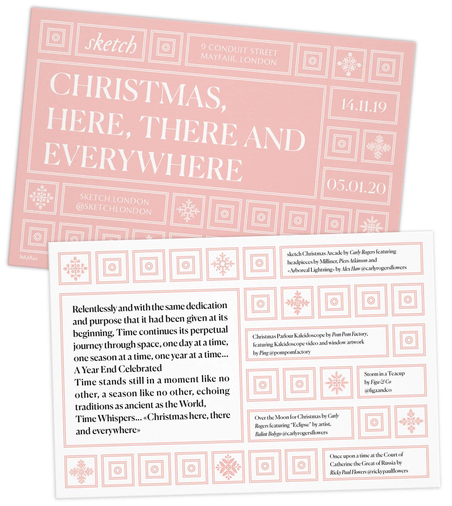 Le flyer pour le l'exposition annuelle Noel au restaurant Sketch à Londres, design Helena Ichbiah