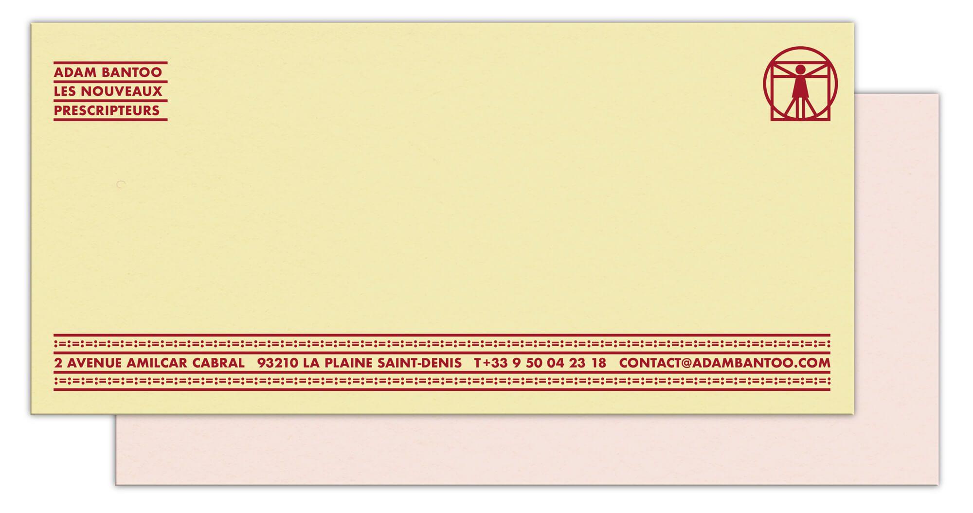 une identité afro-ascii La carte de correspondance du cabinet de conseil en stratégie Adam Bantoo, jaune et rose pale, motif typographique rouge, design IchetKar