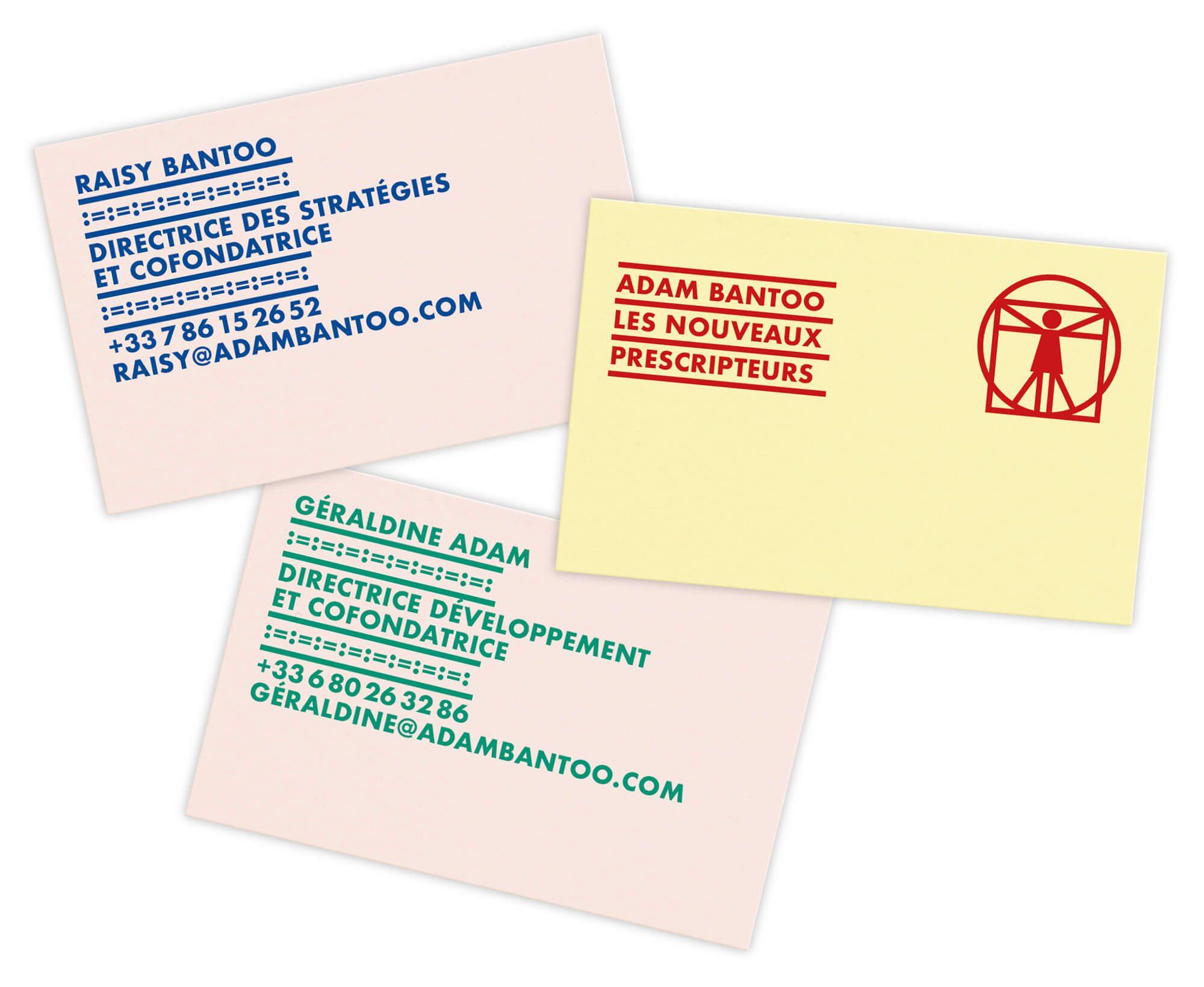une identité afro-ascii L'agence de communication Ichetkar choisit des faire jouer les couleurs pour les cartes de visites du cabinet de conseil en stratégie d'Adam Bantoo.