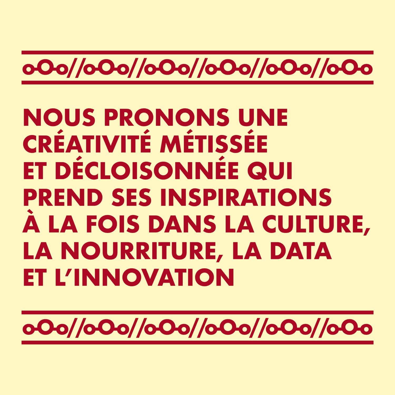 Un motif typographique, deux couleurs et une phrase forte, voici l'identité créé par Helena Ichbiah pour Adam Bantoo