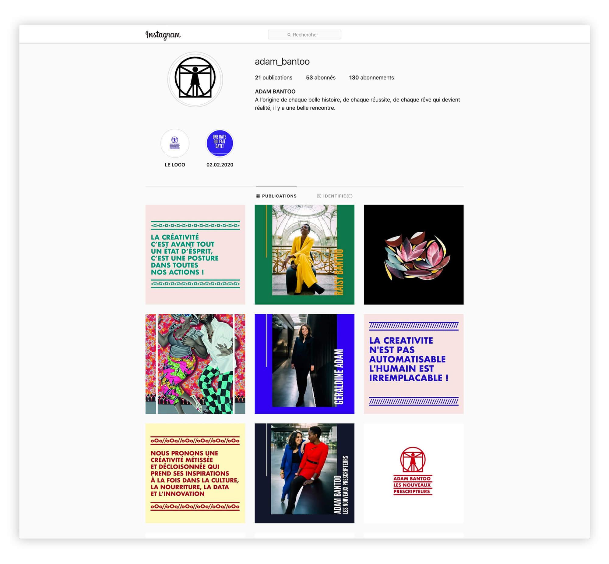 une identité afro-ascii La page instagram avec des phrases graphiques et percutantes de l'agence de conseil en stratégies Adam Bantoo, identité visuelle par Helena Ichbiah
