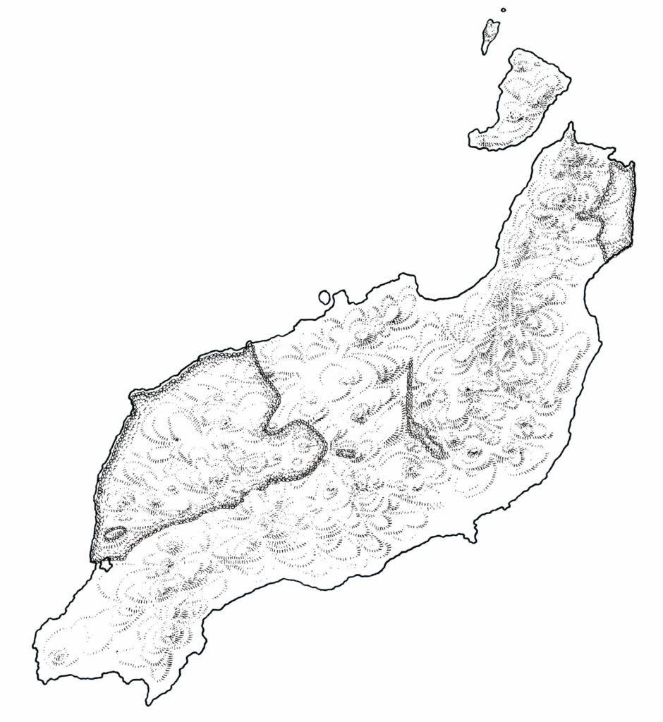 La carte dessinée par Ichet Kar faisant apparaître les nombreux reliefs de l'Ile volcanique Lanzarote