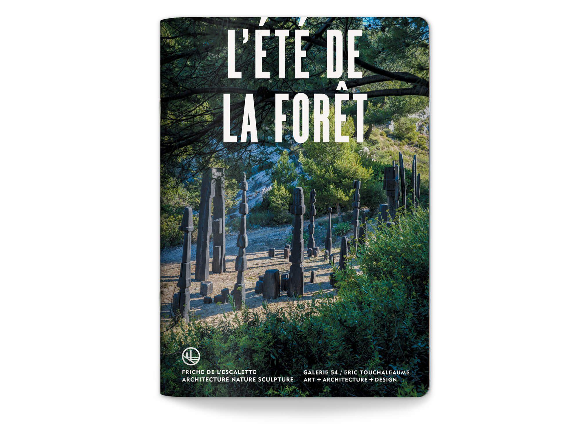 Couverture du livret de la saison 2020 de l'exposition l'été de la Foret à la Friche de l'escalette à Marseille, design IchetKar