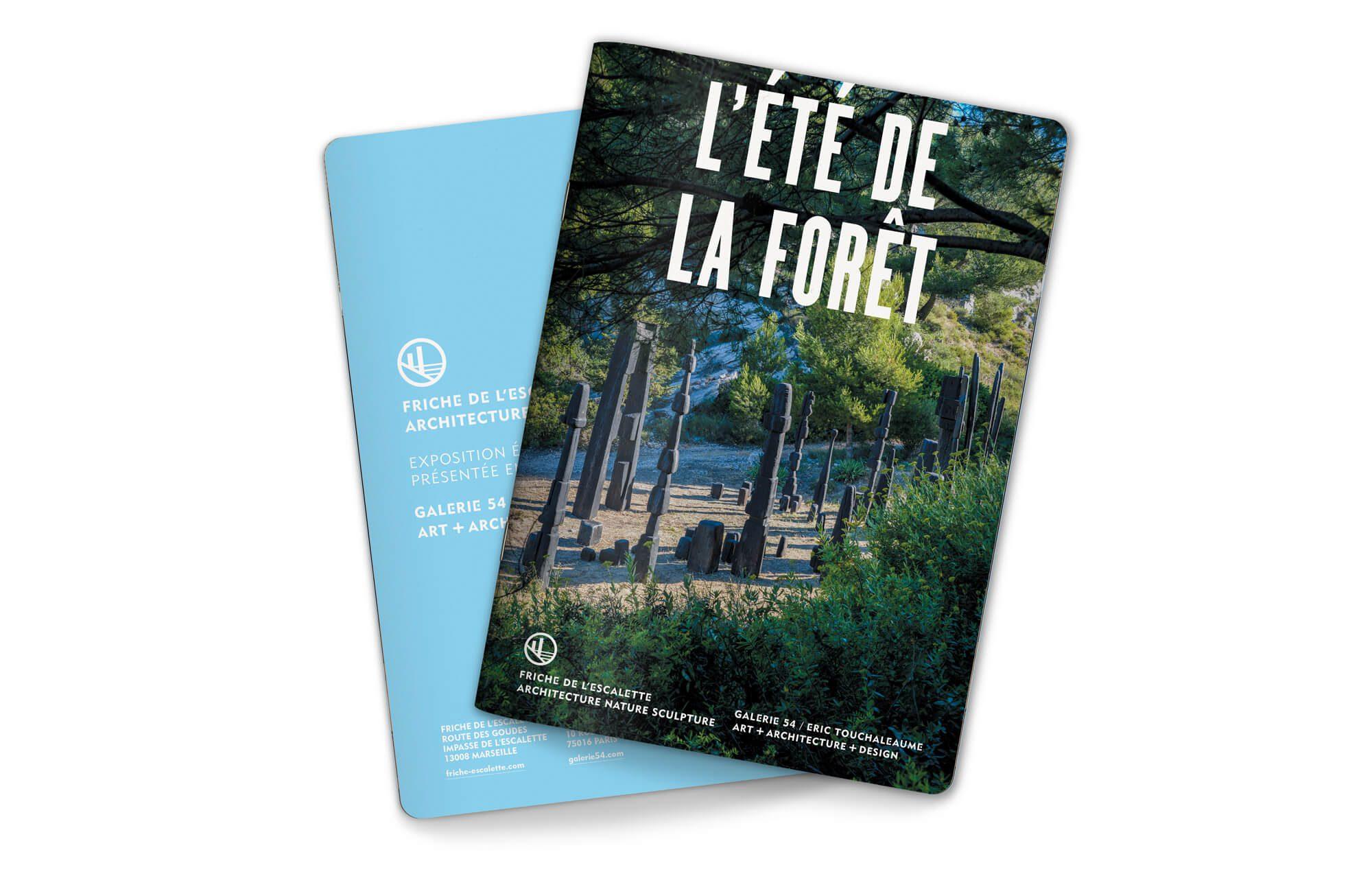 Le livret l'été de la forêt, couverture t 4e de couverture, exposition de Francois Stahly, graphisme et identité IchetKar