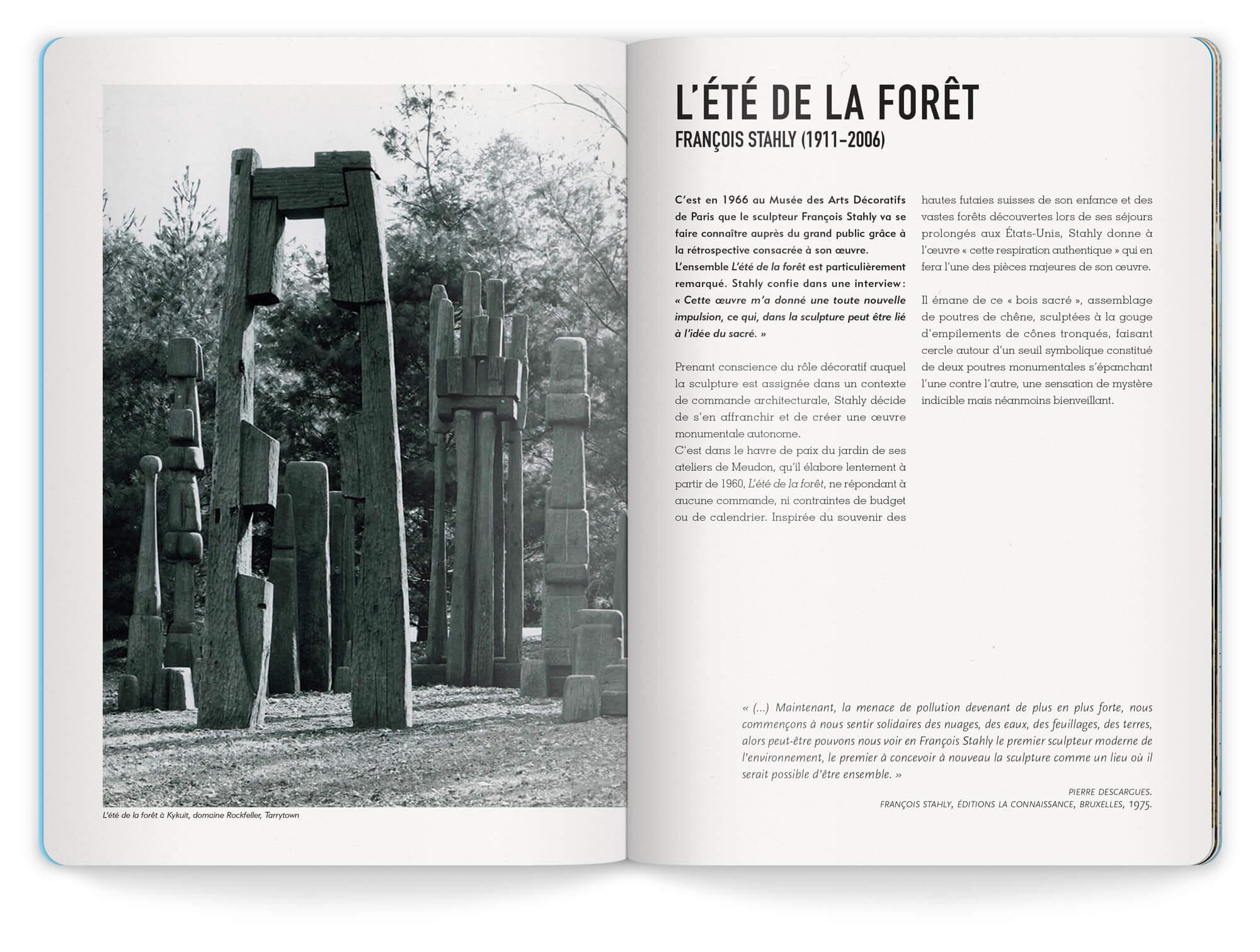 Double page sur l'ensemble des sculptures de Francois Stahly exposé à la friche de l'escalette à Marseille en 2020, maquette et mise en page IchetKar