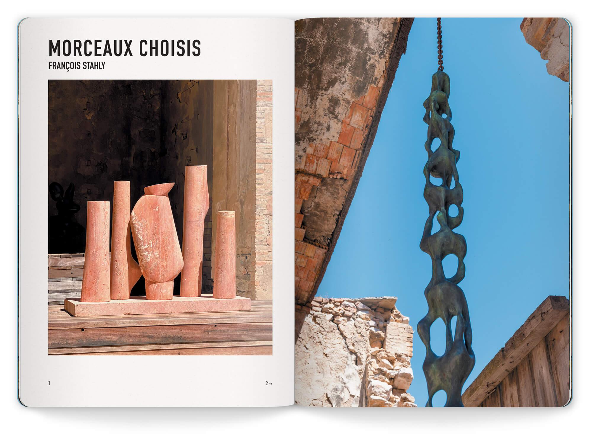 Photo des stèles et le de la colonne d'eau de Francois Stahly, design et mise en page IchetKar
