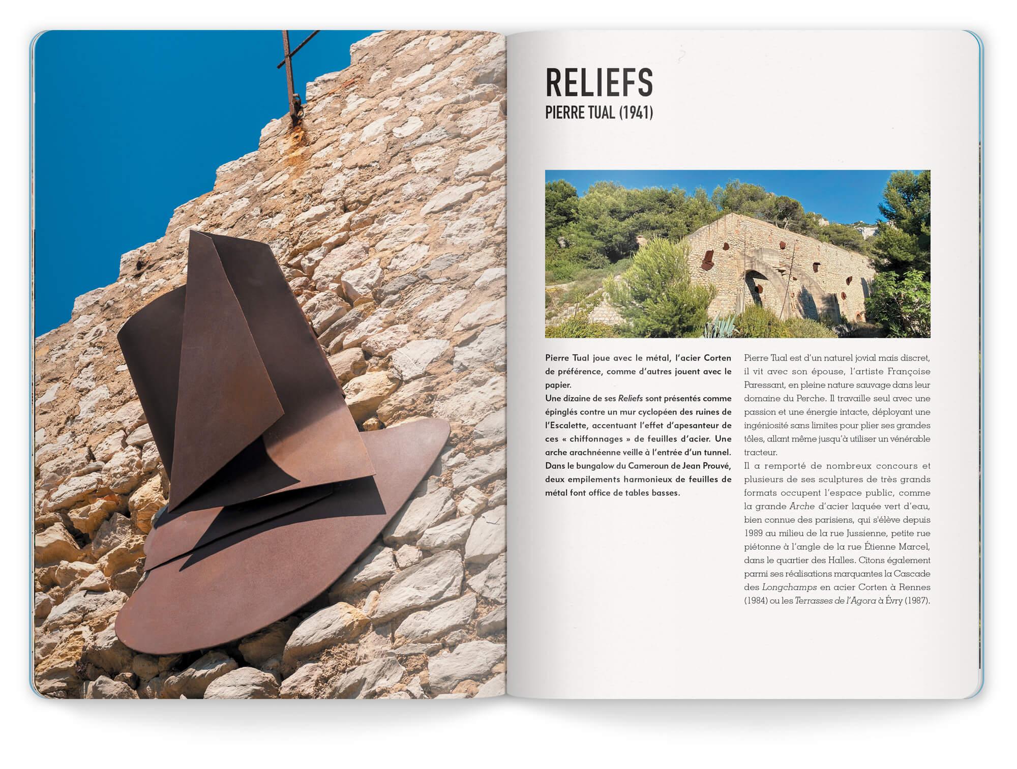 Double page sur Pierre Tual et ses œuvres Reliefs exposés à la Friche de l'Escalette pour la saison 2020. Maquette et mise en page IchetKar