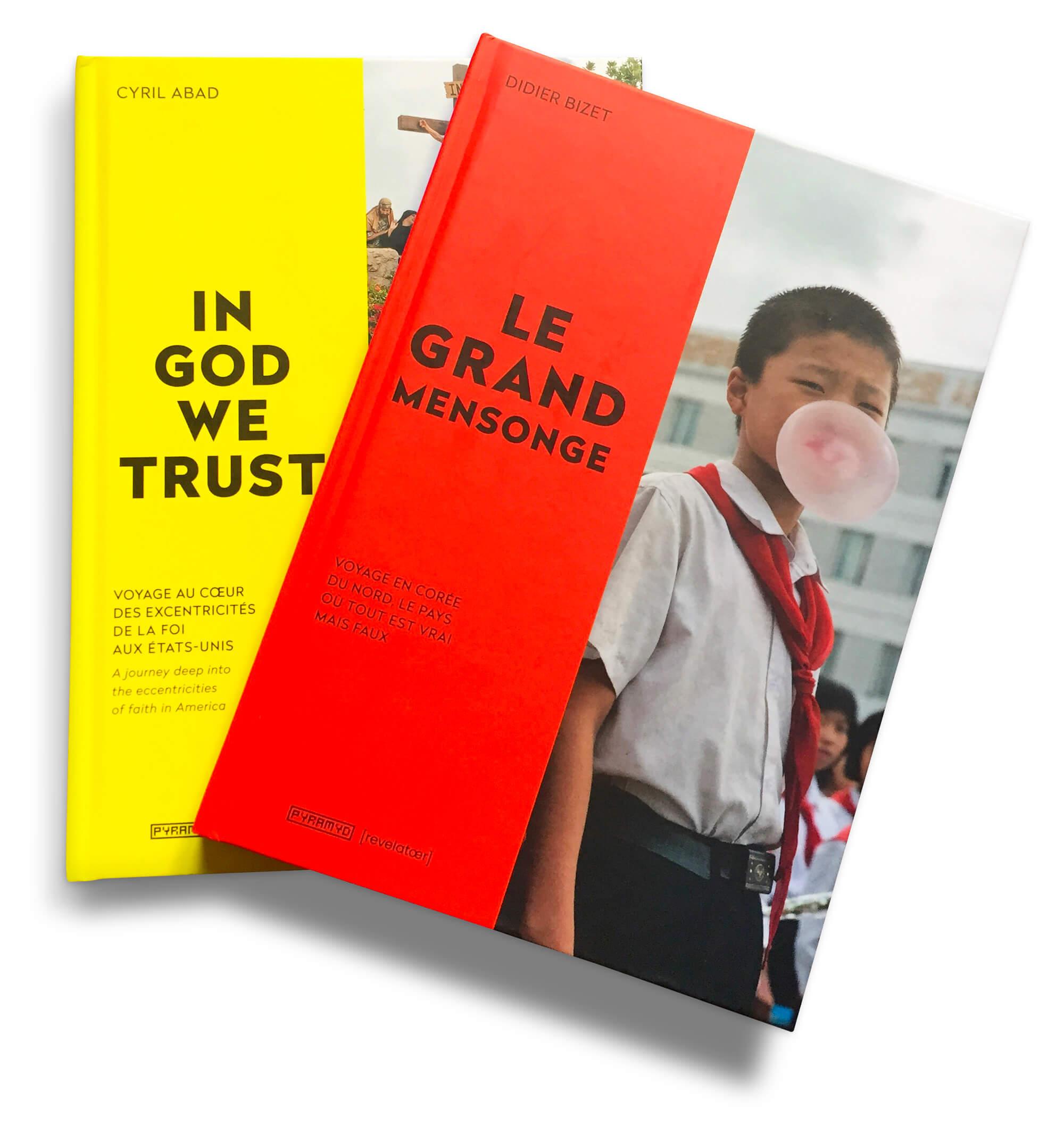 Les deux premiers livre d'une collection thématique des editions Pyramyd en collaboration avec Revelatœr, design IchetKar