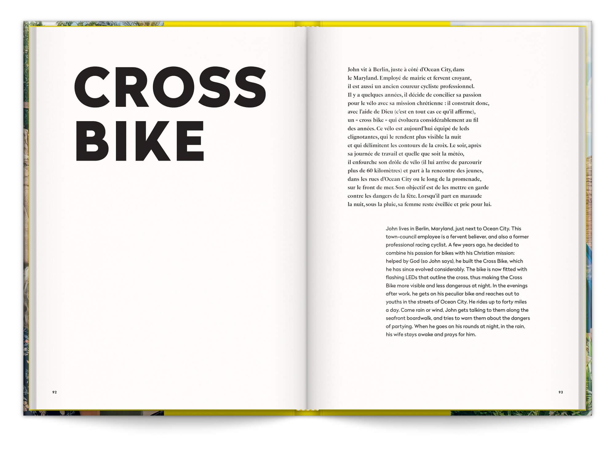 Page d'introduction de la série de photo Cross Bike dans le livre In God We Trust, au editions Pyramyd, maquette et mise en page IchetKar