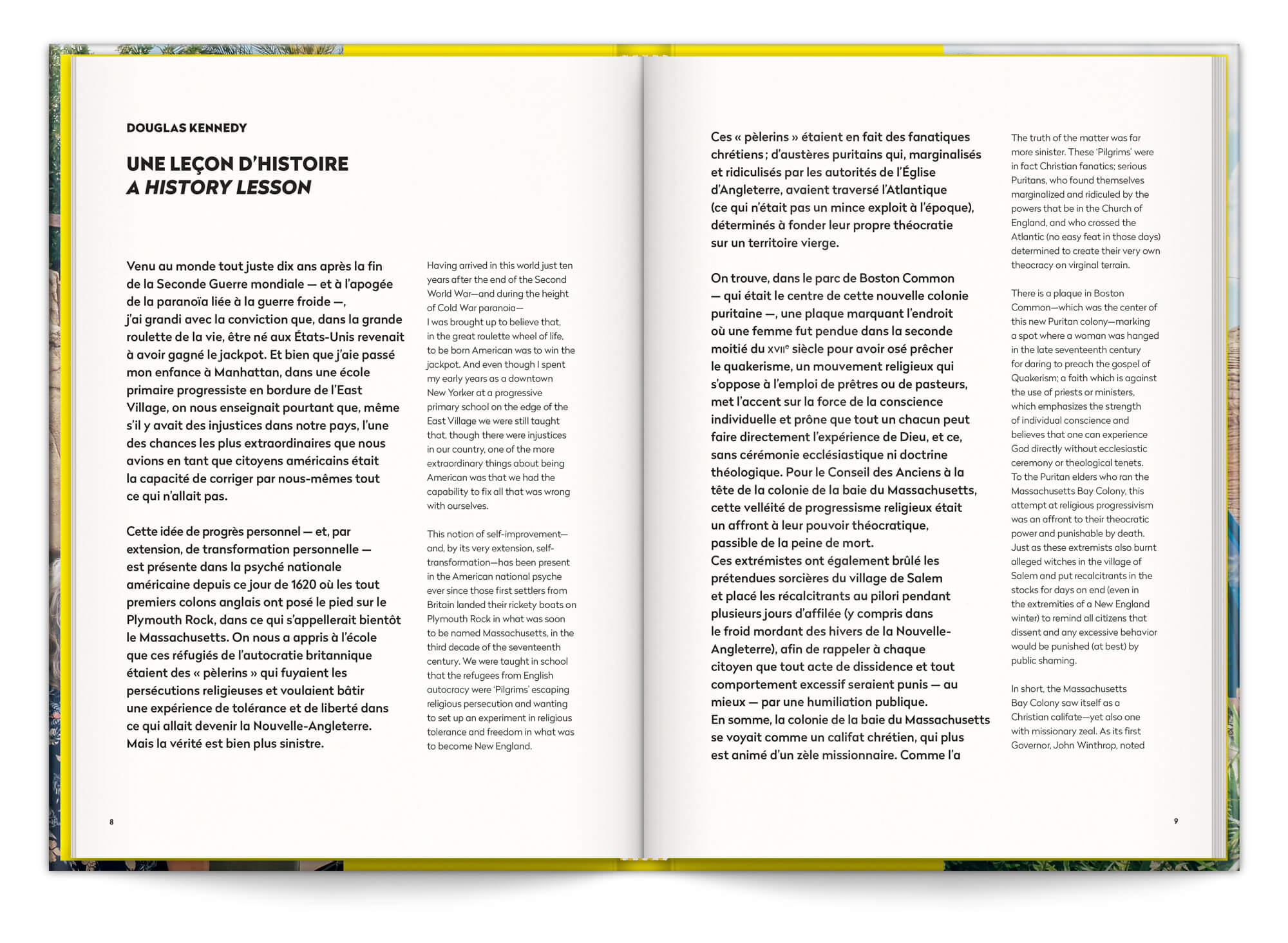 La préface de Douglas Kennedy, une leçon d'histoire, dans le livre in God we Trust de Cyril Abad aux éditions Pyramyd et Revelatœr, design graphique IchetKar