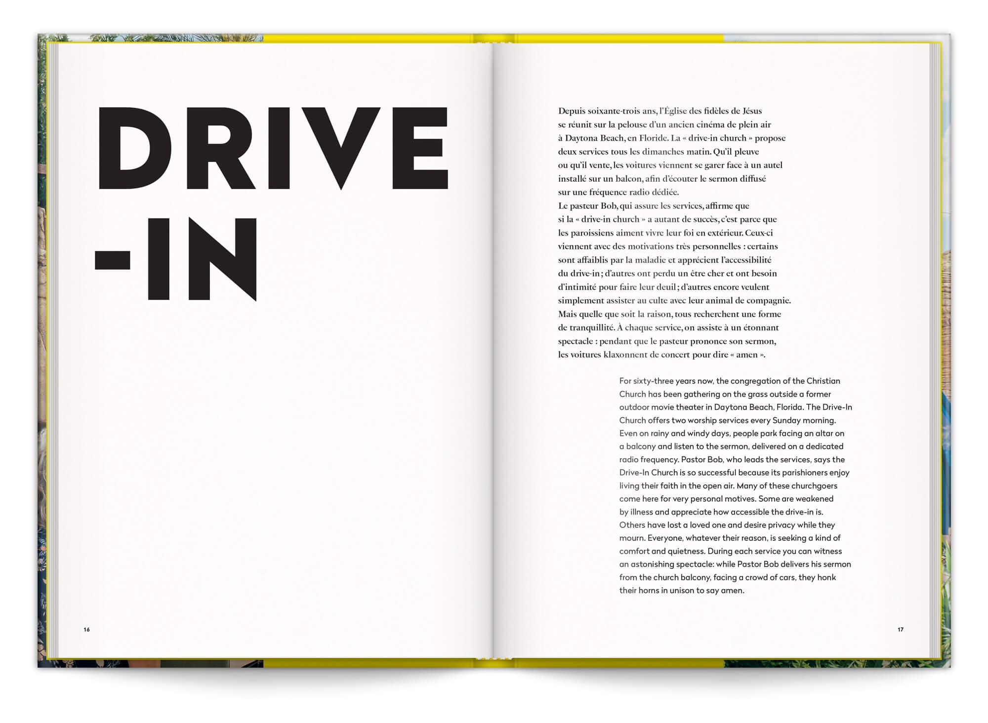 Page d'introduction de la série de photo Drive In capturé par Cyril Abad, graphisme IchetKar