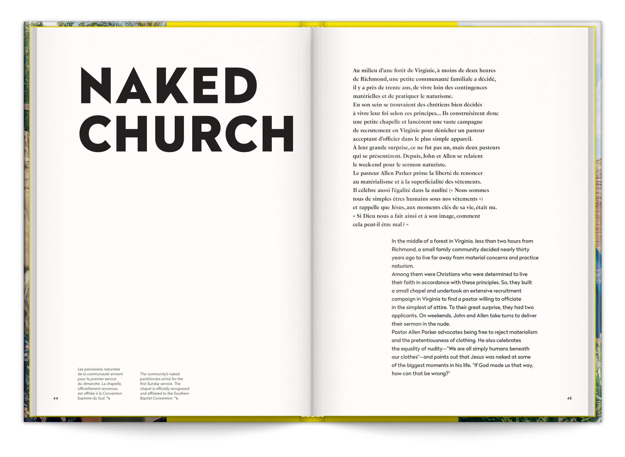 Texte d'introduction de la série Naked Church, Cyril Abad photographie une communauté religieuse naturiste, maquette et mise en page IchetKar