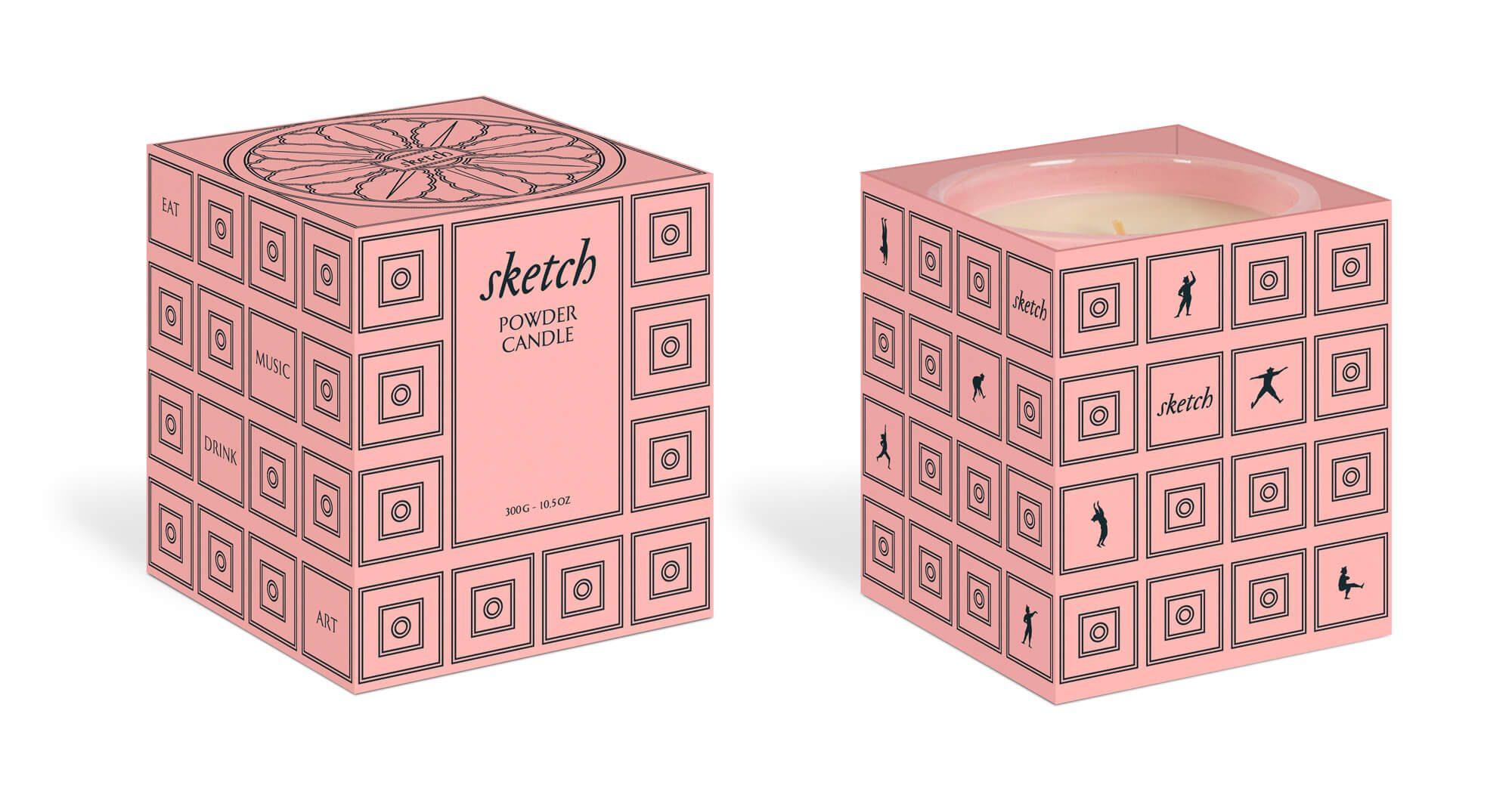 IchetKar dessine la boite de la sketch powder candle, motif et jumping men sur fond rose.