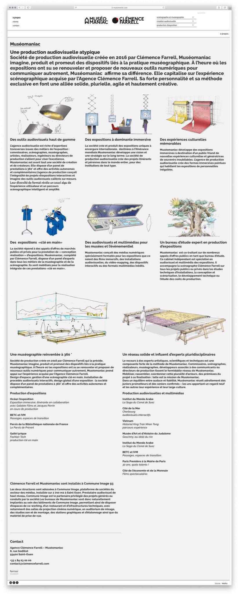 La page à propos presente la biographie de la scenographe Clémence Farrell ainsi que l'agence Muséomaniac, design IchetKar