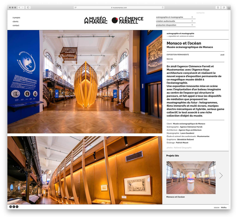 La page article du site est construite en deux colonnes, a gauche les grandes images et a droite le texte explicatif du projet, maquette web IchetKar