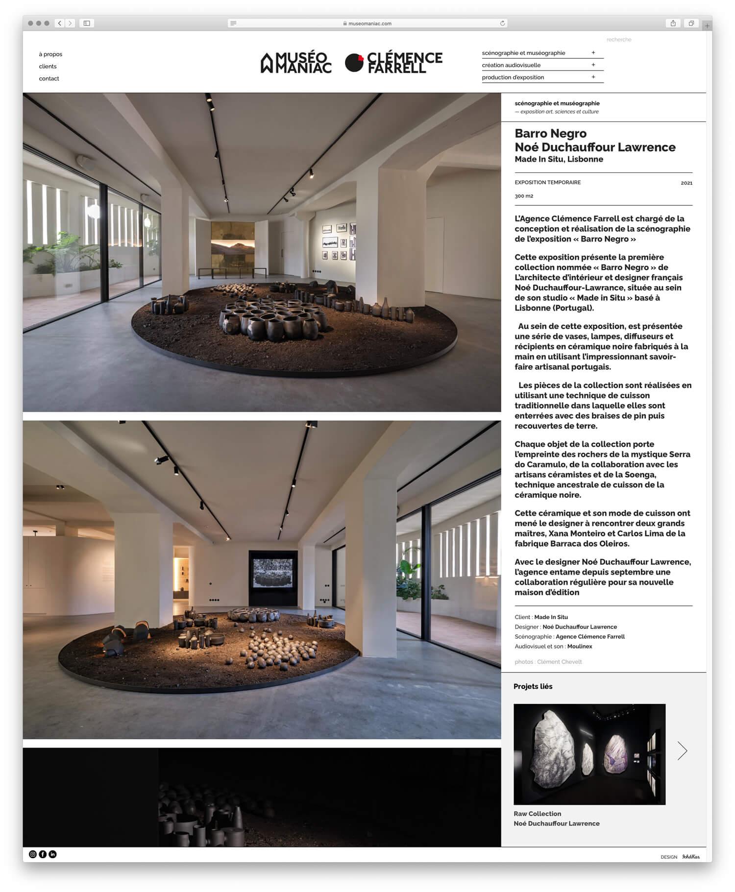 sur le site Une grande place est laissée à la photographie pour montrer les projet de scenographie de l'agence Museomaniac et Clémence Farrell