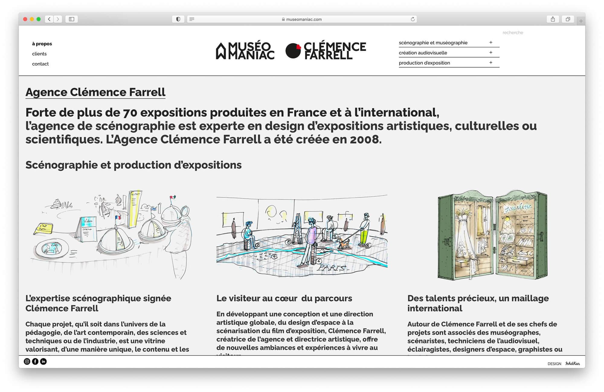 Les dessins de Clémence Farrell viennent illustrer les differentes parties developpé dans la page à propos, maquette web Helena Ichbiah