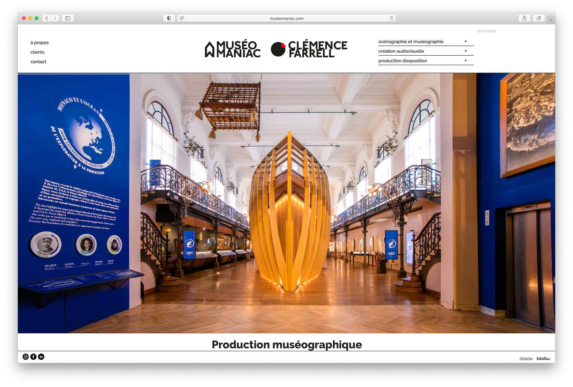 Ichetkar dessine une home avec un diaporama full screen en entrée de site pour la scénographe Clémence Farrell