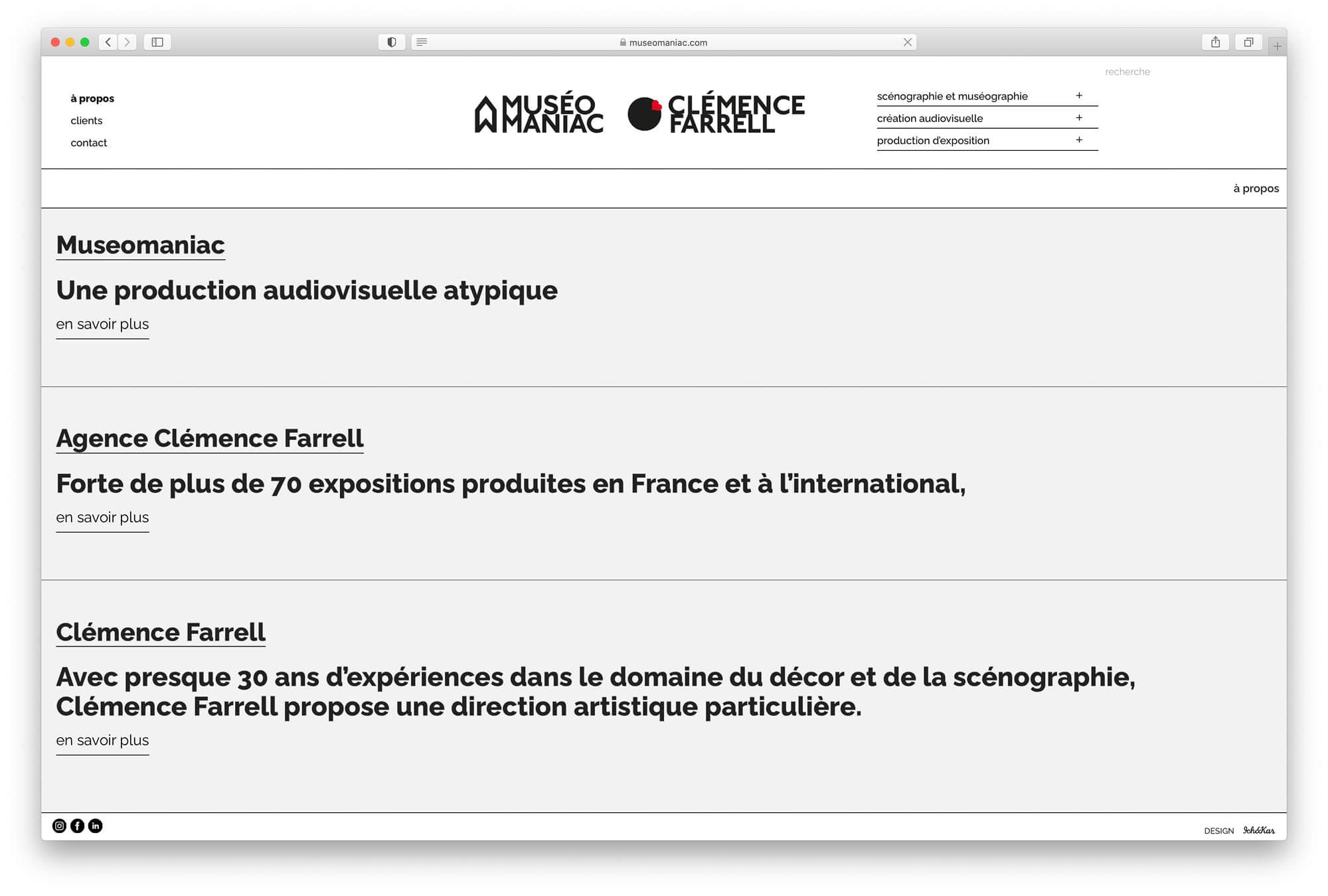La page à propos du site muséomaniac.com qui presente l'agence et la biographie de clémence farrell