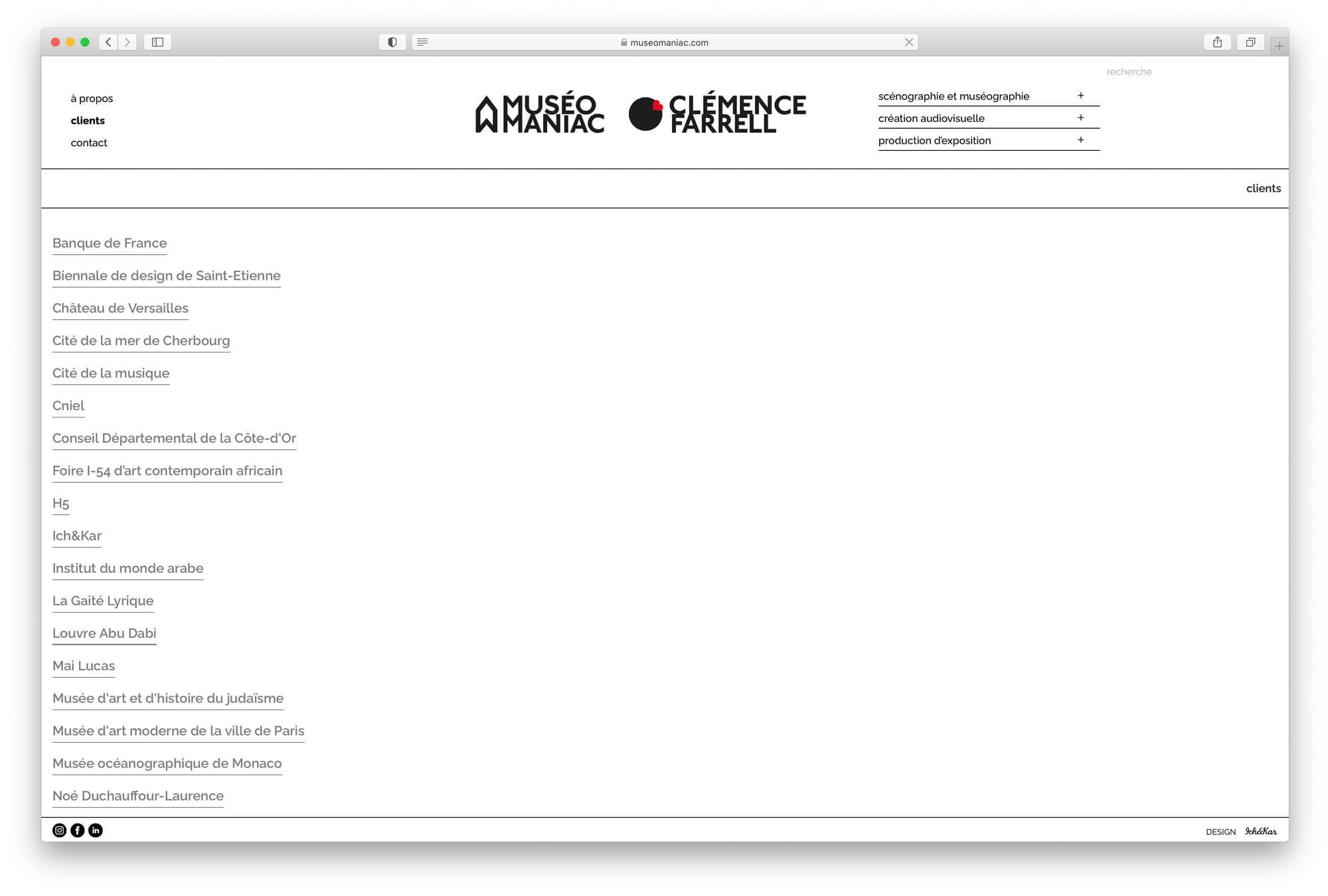La page clients presente une liste qui s'ouvre repertoriant les projet classés par clients