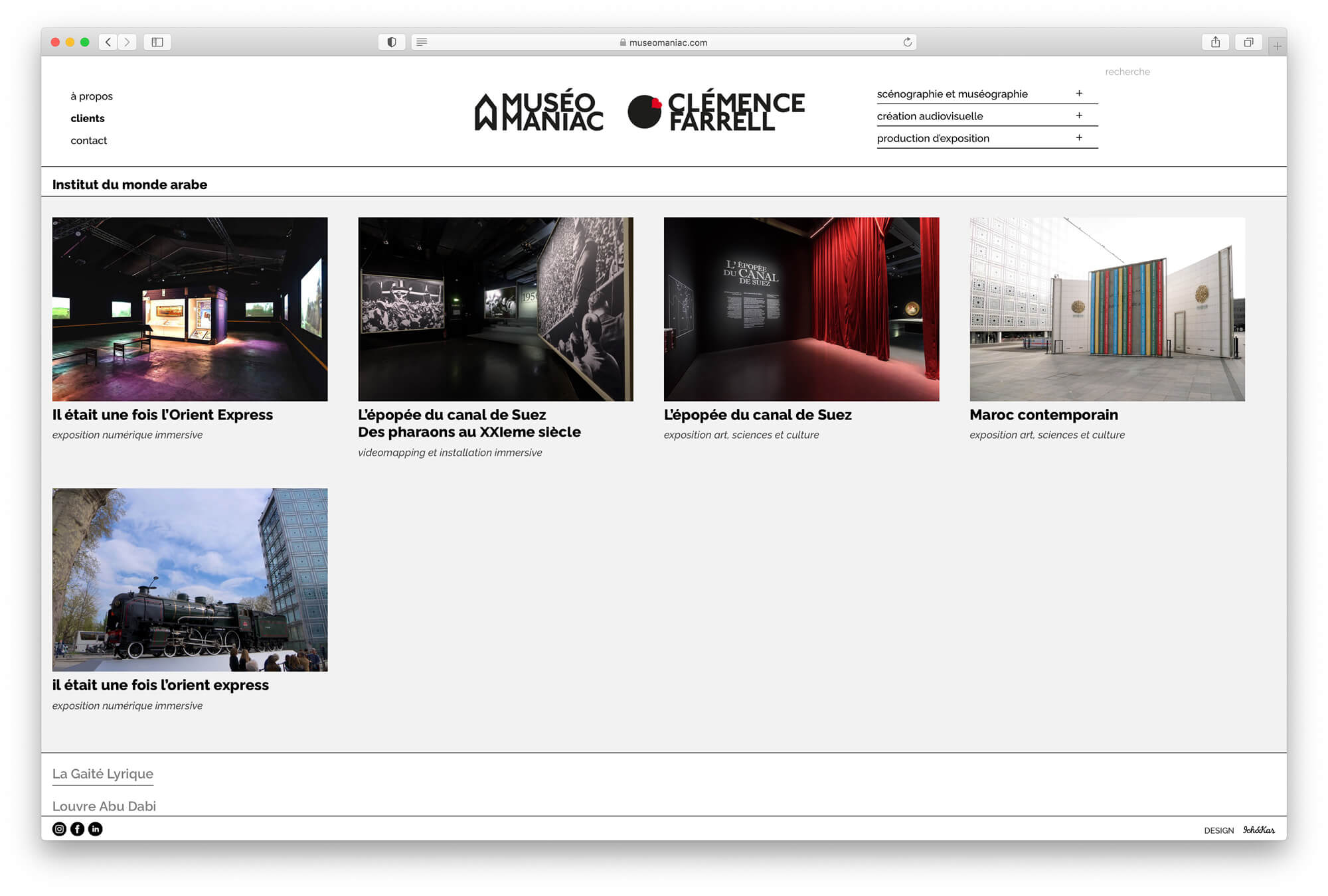 Un système de catégorie pour pouvoir trier les projets de clemence farrell, design web ichetkar