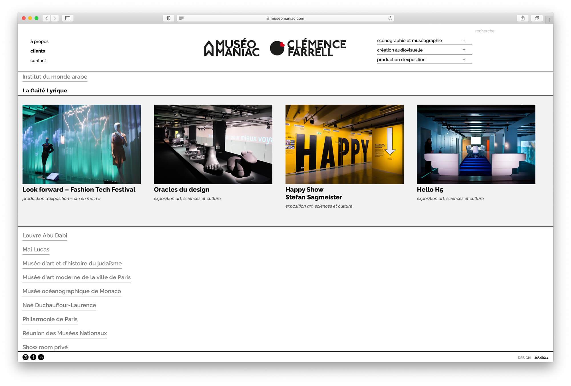 Sur la page client, le nom s'ouvre et laisse place au projet triés par clients, design ichetkar