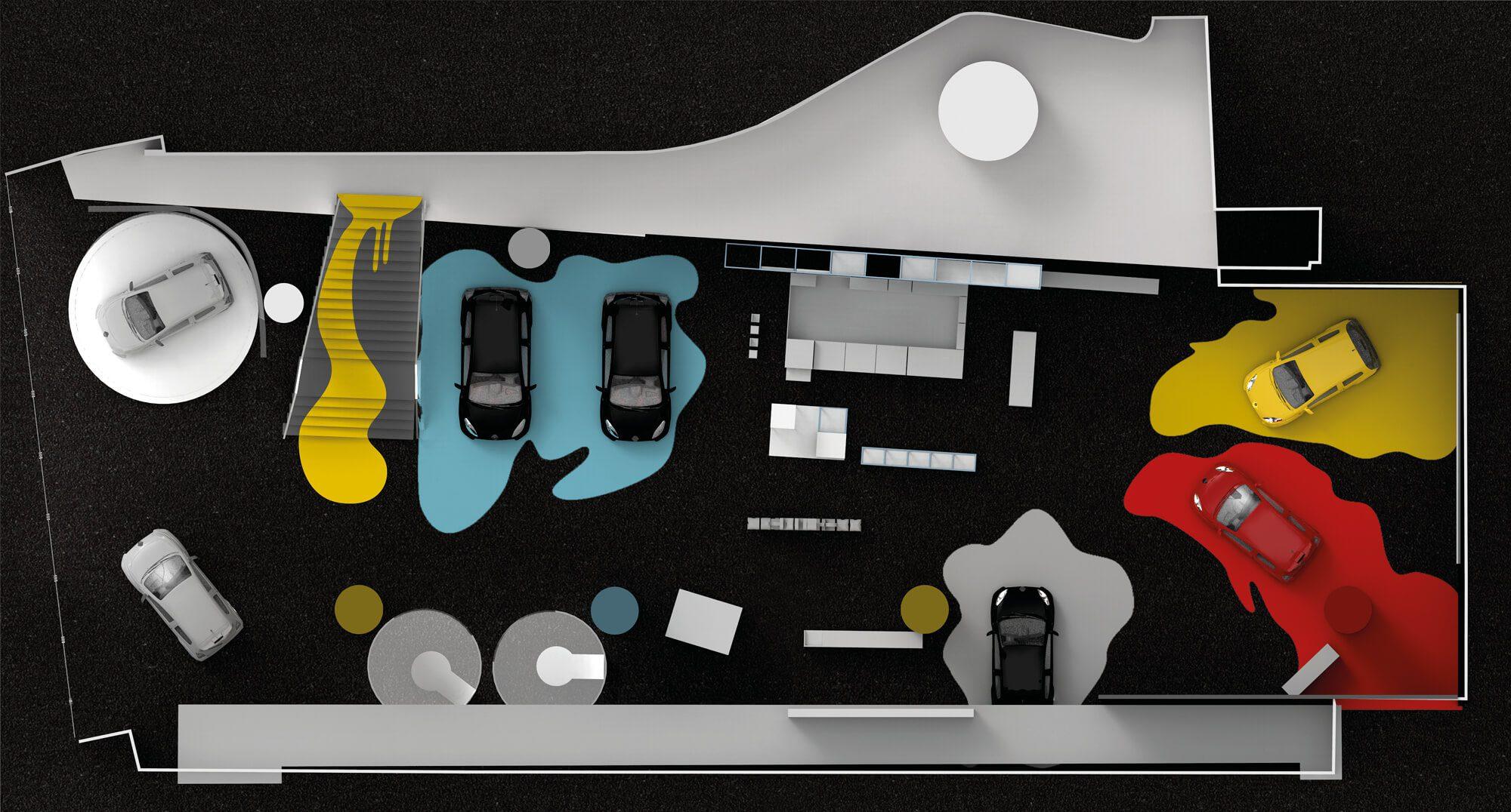 Des taches de peintures du sol au plafond… Ont transformé un lieu sage en atelier créatif envahi par la couleur