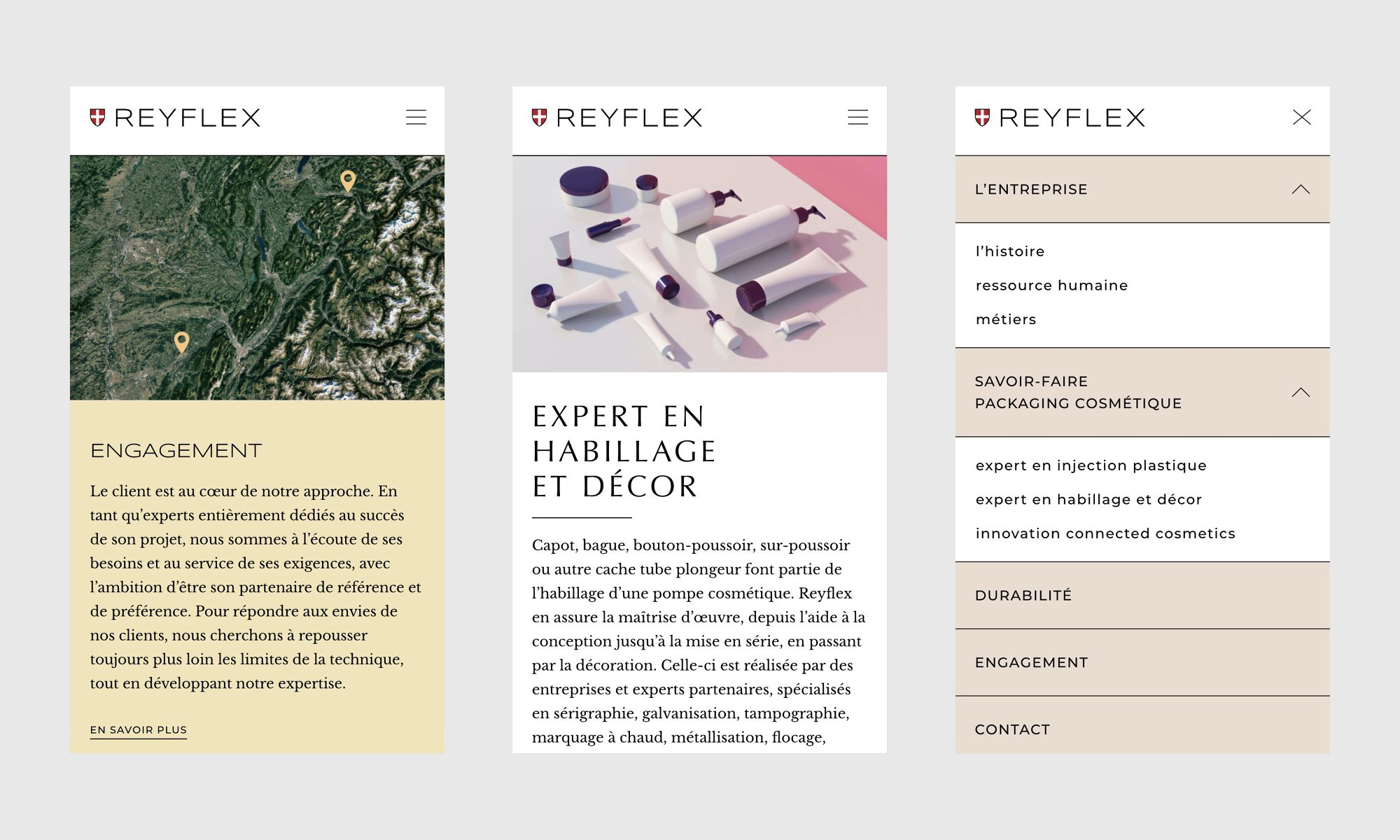 Le sitze Reyflex en version mobile, design responsive IchetKar