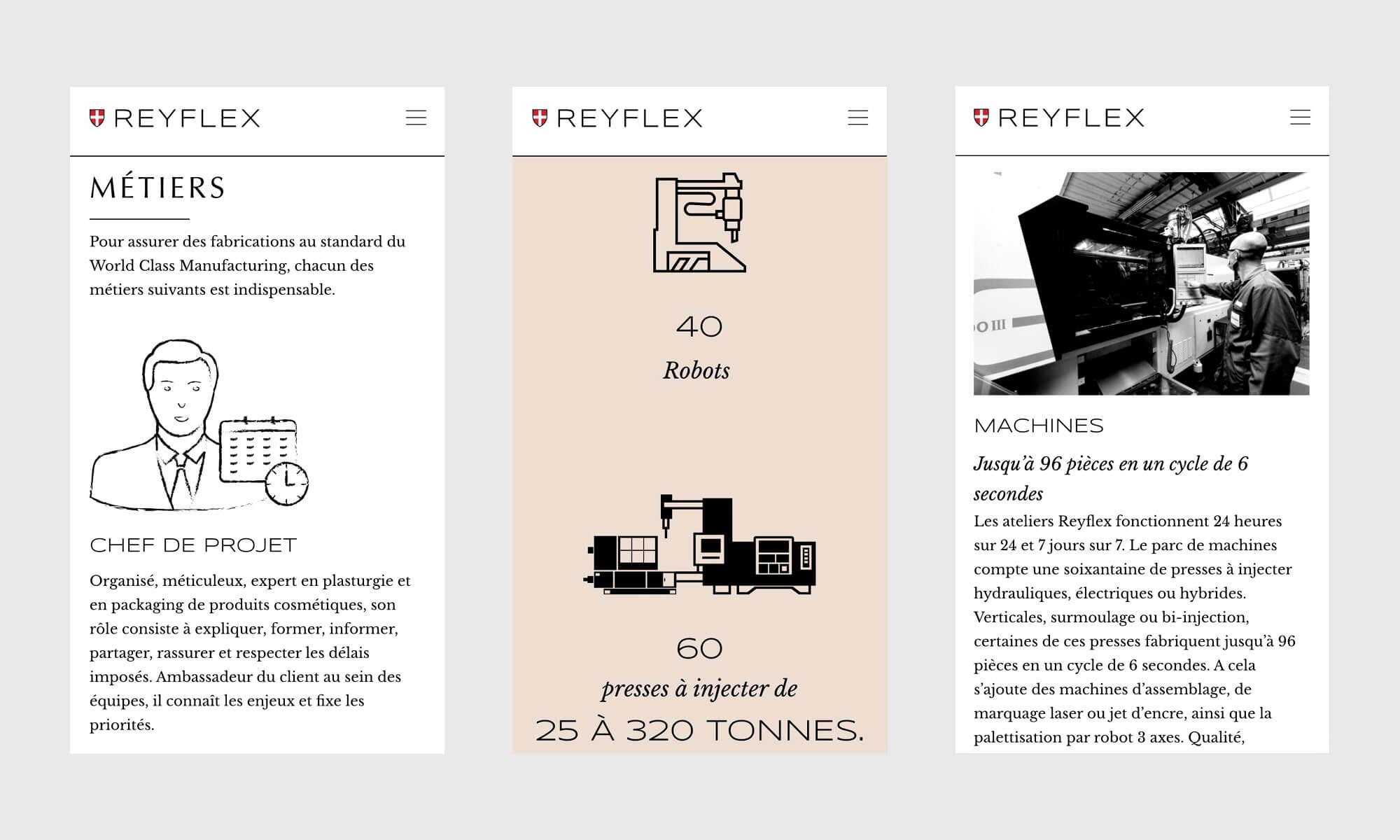 La version telephone du site internet Reyflex, design Ich&Kar