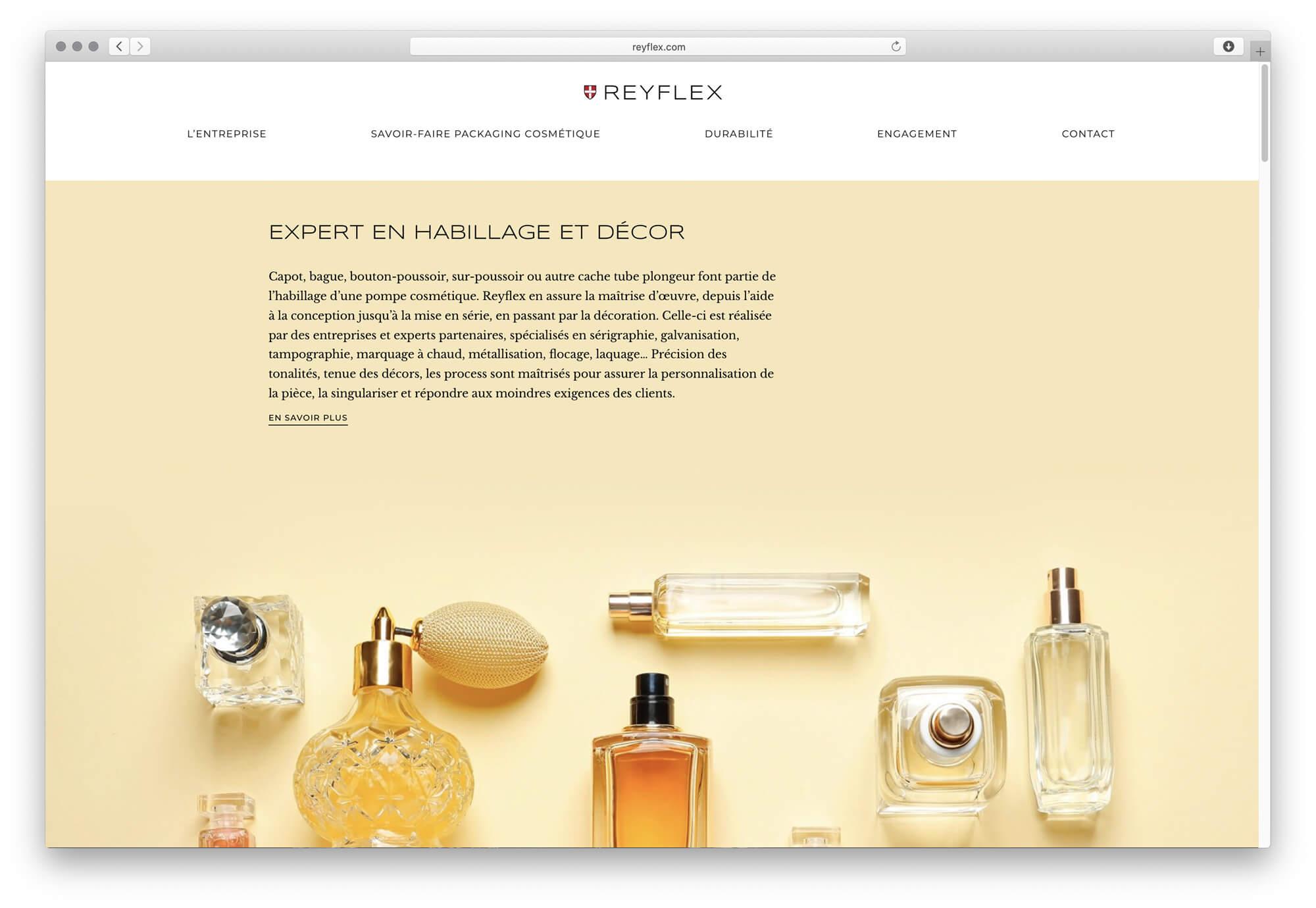 Le site web de l'entreprise d'injection plastique Reyflex laisse la place a l'image, direction artistique Ich&Kar